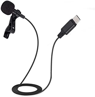 Diyeeni Micrófono de Solapa, USB Tipo C Micrófono de Solapa de Solapa, Clip omnidireccional en el micrófono para Dispositi...
