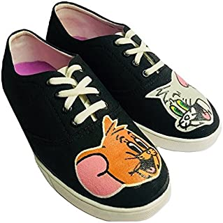 FUNKY N TRENDY Tom and Jerry Handpainted Waterproof Black Women's Canvas Shoes