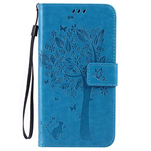 ISAKEN compatibile con LG G4 Custodia, Libro Flip Cover Portafoglio Wallet Case Albero Design Tinta Unita Caso in Pelle PU Protezione Caso con Supporto di Stand/Carte Slot/Chiusura - blu