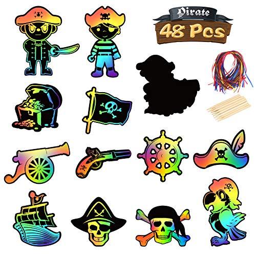 SEELOK 48Stk Piraten Spiel Kratzbilder Set Papier zum Kratzen Regenbogen Kratzpapier Piratenschatz mit Seile Holzstiften für Jungen Kinder Bastelset Kindergeburtstag Mitgebsel