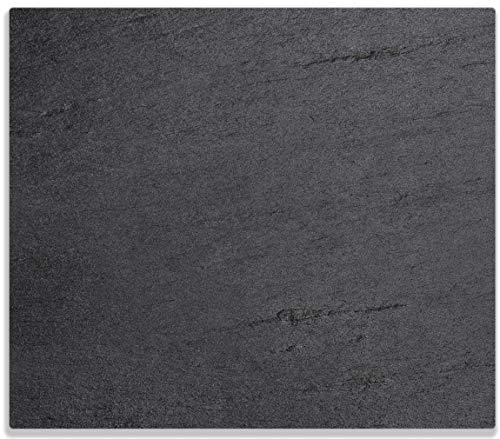 Wallario Herdabdeckplatte/Spritzschutz aus Glas, 1-teilig, 60x52cm, für Ceran- und Induktionsherde, Schwarze Schiefertafel Optik – Steintafel