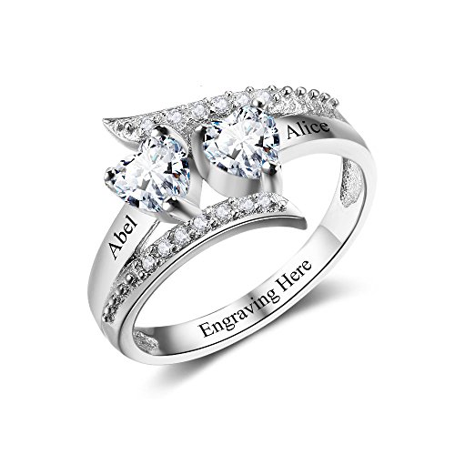 Jewelora Personalized Ring for Women Silver 2 Simulated Birthstones Mothers Rings Promise Rings for Valentine's Day Mother's Day Birthday (58)