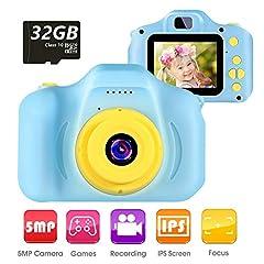 vatenick kinderen digitale camera speelgoed peuter camera speelgoed 2 inch HD-scherm 1080P 32GB TF-kaart jongens en meisjes geschenken speelgoed voor 3 tot 12 jaar oud (blauw)*