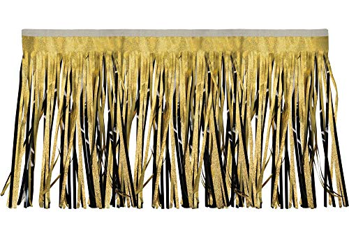 CC Home Furnishings 10' Gold and Black Embossed Contemporary Decorative Party Fringe Skirt Garland
