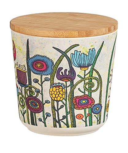 Aufbewahrungsdose Flowers 0,5 Liter, Dose mit Deckel aus Bambus, 0.5 l