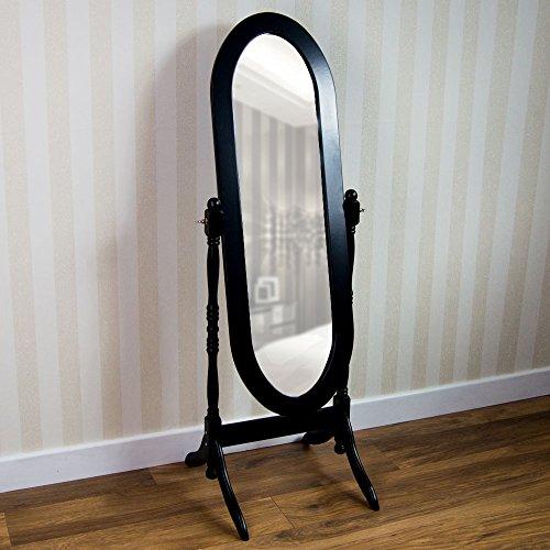 Vida Designs nishano Standspiegel freistehend Full Länge Frisiertisch Spiegel verstellbar Schlafzimmer Möbel aus Holz, groß, Schwarz