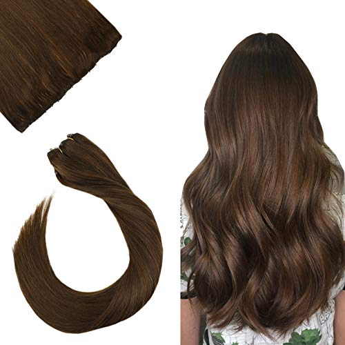 Ugeat 14inch EZE Weft Brazilian Human Hair Extensions Color #4 Dark Brown 50Gram 10Inch Width Silky Straight Micro Beads...