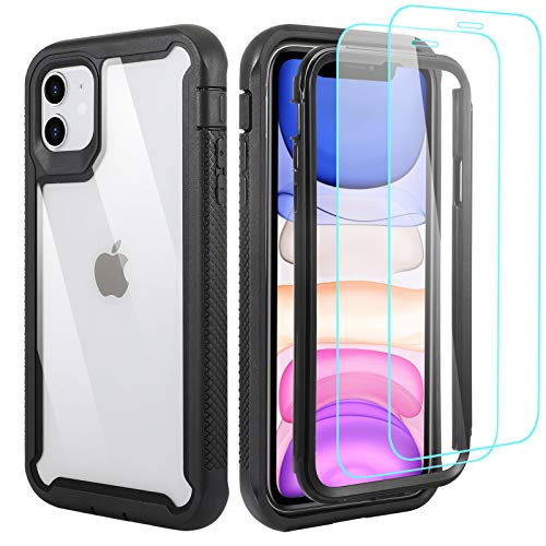 KERZZIL Compatible with iPhone 12 Pro Max 6.7-inch case [ Military Grade ] with [2 x Tempered Glass Screen Protector], Clear Full Body Heavy Duty Shockproof Protective Phone Cover Cases(Black)