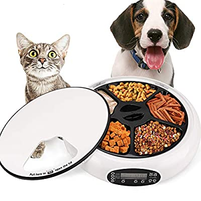 Automatic Feeder Cat Dogs Pet Timed Feed 5 Meal Trays Dry Wet Food Dispenser with Voice Remind LCD Smart Programmable Self Feeder (White)