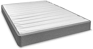 eLuxurySupply Upholstered Mattress Bed Foundation - Tool-Free Easy Assembly  - Compact 7.5 Inch Profile Steel Platform Bed with Wooden Slats - Box Spring Alternative - California King - Grey
