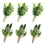 YSUCAU Handcrafted Eucalyptus Boutonniere with Pin for Men Wedding, Groom and Best Man Artificial Greenery Boutineers for Wedding Prom Party Anniversary Man Suit Decoration