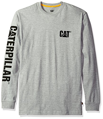 Caterpillar Men's Trademark Banner Long Sleeve T-Shirt (Regular and Big & Tall Sizes), Heather Grey, Large