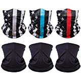 [6 Pack] Unisex Sun UV Protection Face Bandana, Reusable Washable Cloth Fabric Scarf for Cycling Motorcycle, Breathable Neck Gaiter Balaclava for Men Women(Blackx3 & US Flagx3)
