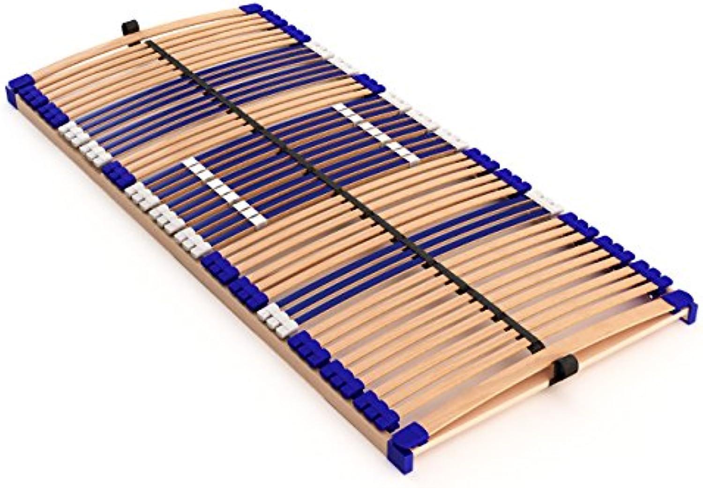 Stabiler Lattenrost 100% BUCHE Lattenrahmen - nicht verstellbar, starr - SCHULTERFRSUNG, 7 Zonen, 44 Federleisten, Hrte-Regulierung, Mittelgurt - FIX COMFORT 44 - fertig montiert (140x200cm)