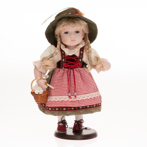 Sammlerpuppe, Porzellanpuppe, Trachtenpuppe Tracht Puppe Mädchen mit Blumenkorb 30cm 122404
