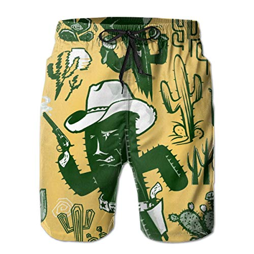 Shorts de Playa para Hombre de Secado rápido Cute Saguaro Cactus Mesh Lining Surf Trunks con Bolsillos, tamaño XL