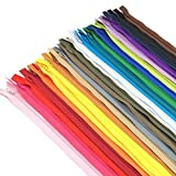 60pcs 14 inch Zippers-25Colors Nylon Coil Zipper Bulk #3 Zippers for Tailor Sewing Crafts