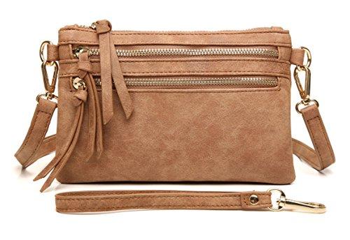Aitbags Multi-Zipper Pocket Crossbody Handbag Lightweight Purse Functional Clutch with Wristlet