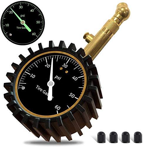 Randalfy Manometro Presion Neumaticos de Automóvil, Medidor de Presión de Aire de Neumáticos de Servicio Pesado para Automóviles, Motocicletas, SUV, Neumáticos de Bicicletas (0-60 PSI)