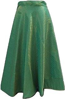 SNEH Women's Brocade Silk Skirt (SEA GREEN,Free Size)