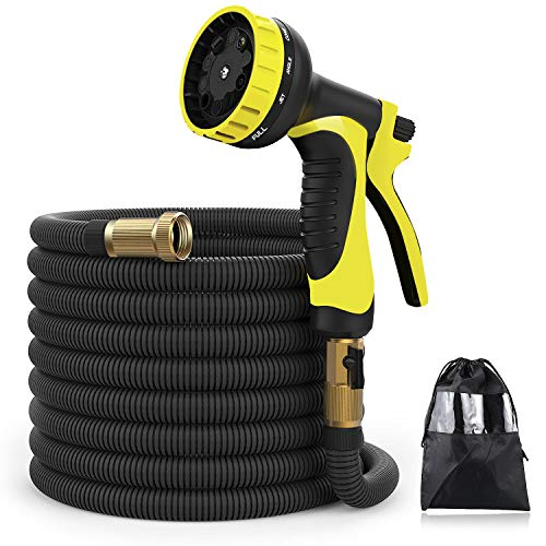 XBUTY Garden Hose,50FT Expandable Water Hose 9 Pattern Spray Nozzle,High Pressure Extra Strength Fabric Double Latex Core 3/4 Solid Brass Fittings with Carrying Bag
