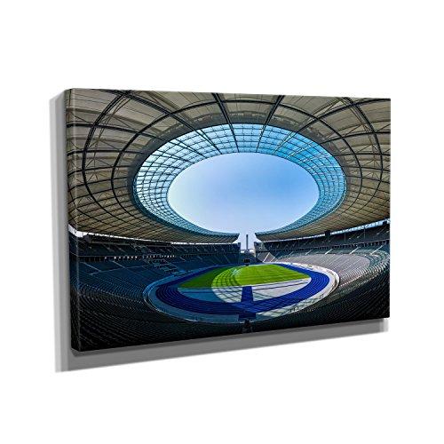 Nerdinger Fußballstadion Berlin - Kunstdruck auf Leinwand (90x60 cm) zum Verschönern Ihrer Wohnung. Verschiedene Formate auf Echtholzrahmen. Höchste Qualität.
