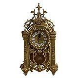 ZJZ Relojes de péndulo, Reloj analógico de Cuarzo de Mesa Vintage para decoración del hogar, Relojes de repisa de pie de Cuarzo silenciosos de Metal Que no Hacen tictac, 44 * 24 cm