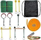 Slackline Obstacle Kit Ninja Warrior Obstacle Course 12 PCS 44 Ninja-Line Hanging Monkey Bars Puños Anillos de gimnasia Escalera de cuerda oscilante Equipo de entrenamiento portátil al aire libre Set