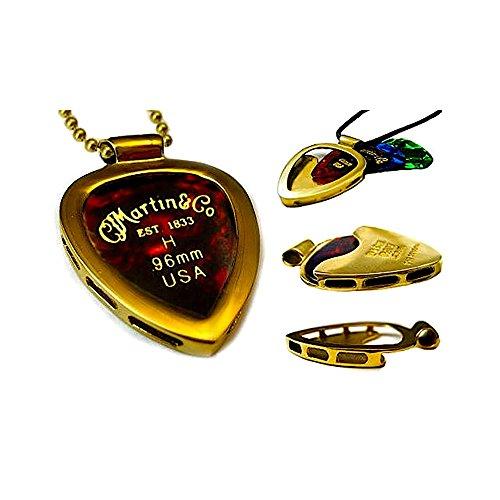 PICKBAY Gold-N Shiny (GOLD IPG) Guitar Pick Holder Pendant Necklace & MARTIN Variety Gauge Pick Set with 24' Adj 3.2mm'Bigger' Brass Ball Chain