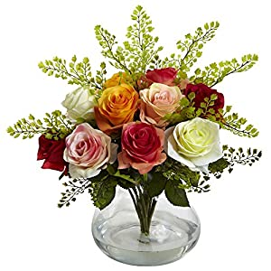 "Nearly Natural 1366-AS Rose and Maiden Hair Arrangement with Vase, Assorted,10.125"" x 17.5"" x 10.125"""