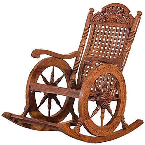 Hindoro Hand Carved Rocking Chair (Teak Wood) (Teak) (Brown)