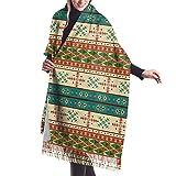 Jxrodekz Bufanda cómoda del mantón de la bufanda del invierno de la cachemira del patrón de Navajo para los hombres de las mujeres
