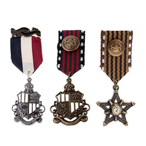 MagiDeal 3 Stücke Vintage Herren Sterne Medaille Abzeichen Kleidung Mode Kostüm Marine Brosche
