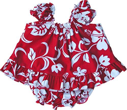 RJC - Juego de vestido de 2 piezas para bebé y niña, diseño de hibisco, Rojo, 4 Años