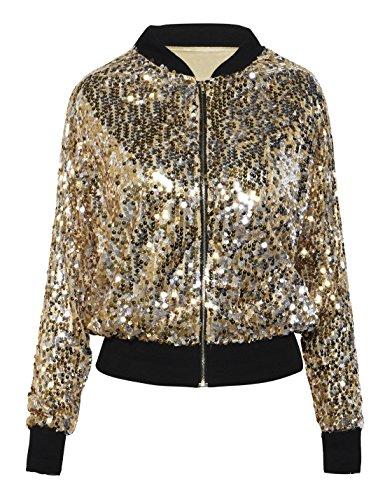 PrettyGuide Damen Pailletten Jacke Langarm Glitzerjacke Bomberjacke Gold S