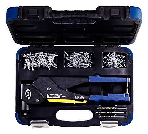 Rapid Blindnietzange RP60 Multi mit 360° drehbarem Kopf, Koffer inkl. 150 Nieten und 3 Bohrern, für ALU Niete von 3,2 - 4,8 mm