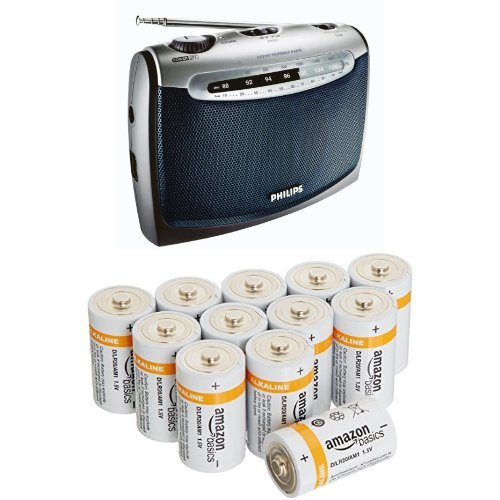 Philips AE2160/04 Radio Portable + Amazon Basics Lot de 12 piles