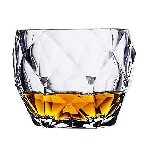 ZHZHZ Kristall Kurze Whisky Wasser Tumbler Gläser, 300 ml Diamant Whisky Gläser Set von 2 Wassersaft Tumbler kippter Scotch Gla