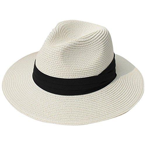 DRESHOW Damen Wide Brim Stroh Panama Rollen Hut Fedora Beach Sun Hat UPF 50 +