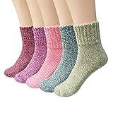WKTRSM Calcetines Termicos Mujer Invierno Navidad Calcetines Divertidos Gruesa Suave Cómodo Calcetines de Lana Cálidos Casual Calcetines de Punto, 5 Pares