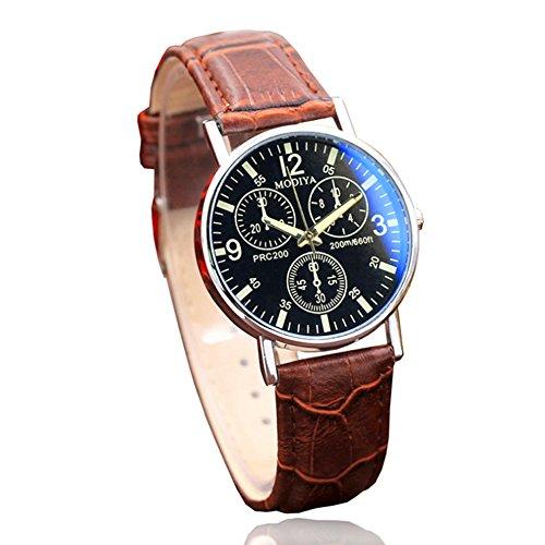 TrifyCore Reloj Cinturón de Vidrio BLU-Ray para Hombre de Cuarzo Cinturón de cinturón marrón de Cara Negra 1 Paquete