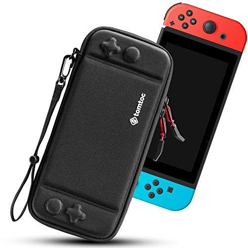 tomtoc Funda Ultra Delgada para Nintendo Switch, Patente Original Estuche Rígido con más Espacio de Almacenamiento para 10 Cartuchos, Case de Transporte con Protección de Estándar Militar, Negro