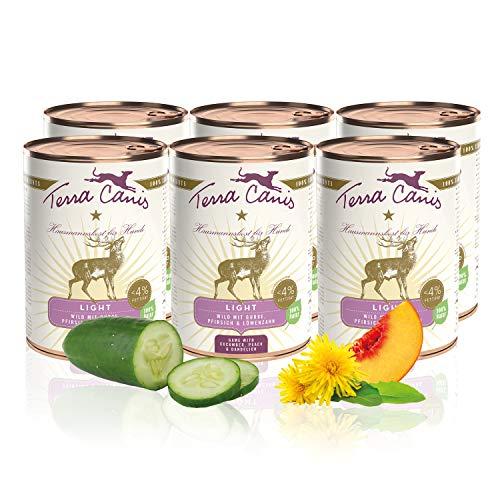 Terra Canis Light Nassfutter I Reichhaltiges Premium Hundefutter in echter Lebensmittelqualität mit Wild, Gurke & Pfirsich I 6 x 400 g, Kalorien- & fettreduziert, Getreide- & glutenfrei