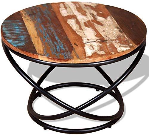 YZ Mesa - Lapdesks Sofá industrial con muebles laterales y muebles redondos Madera maciza Grande Vintage Retro Metal Sala de estar Madera Pequeño té Reciclado Antiguo para todas las estaciones de tra