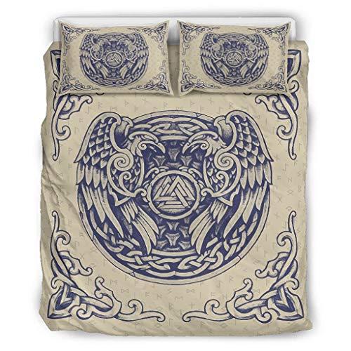 Generic Branded 3-teilig Viking Odin Bettwäsche Set Bettbezüge - Pflegeleicht Bettwäscheset white5 264x229cm
