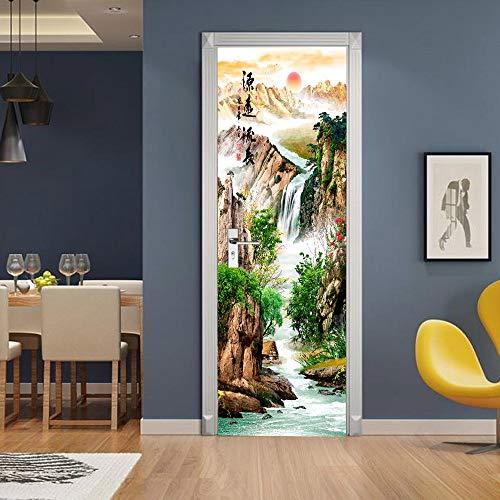 Diseño Moderno Pegatinas para Puertas Papel Tapiz Chocolate Piano Caballo Autoadhesivo decoración para Sala de Estar Arte Mural A24 86x200cm