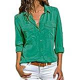 Camisa Mujer Blanca Manga Larga Talla Grande Negra Sexy Cuadros Corta Vestir Botones Gasa Verano Vaquera Verde Azule Blusas para Mujer Elegantes Fiesta Baratas Camisetas POLP (L2, Verde)