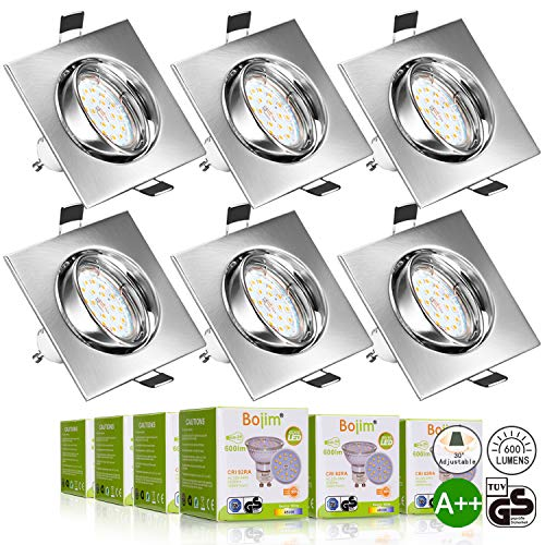 Foco Empotrable, Bojim 6x GU10 LED Luz de Techo 6W equivalente a 54W Incluye Bombilla GU10 Blanco Natural 4500K 600Lm Ojos de Buey Marco Cuadrado Esmerilado Ángulo Rotable 30°AC 220V-240V