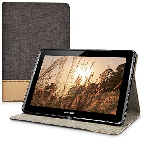 kwmobile Hülle kompatibel mit Samsung Galaxy Tab 2 10.1 P5100/P5110 - Slim Tablet Cover Hülle Schutzhülle mit Ständer Schwarz Braun