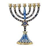 YU FENG 7 Branch Magen David Menorah portavelas de Diamantes de imitación Bejeweled judío Israel Jerusalén Templo Menorah